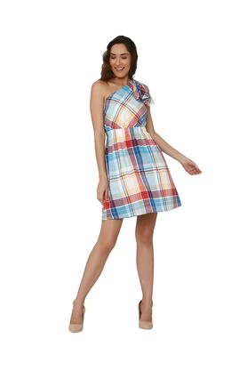 Womens Checked One Shoulder Dress