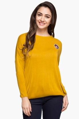 RS BY ROCKY STAR Womens Round Neck Solid Sweater