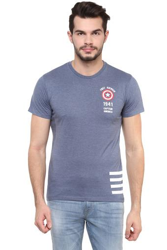 Mens Round Neck Captain America Printed T-Shirt