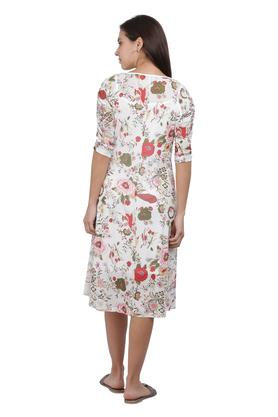 Womens Round Neck Floral Print Knee Length