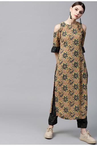 Women Rayon Printed Straight Kurta With Rayon Printed Trouser