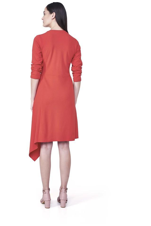 Womens V-Neck Solid A-Line Dress