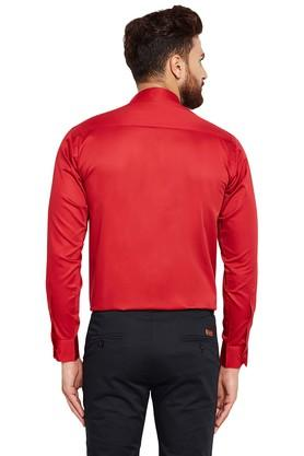 Mens Slim Fit Mandarin Collar Solid Formal Shirt
