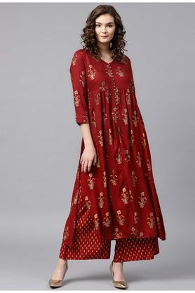 Womens V-Neck Printed Kurta and Palazzo Set
