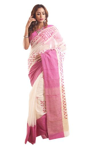 Women Embroidered Cotton Saree