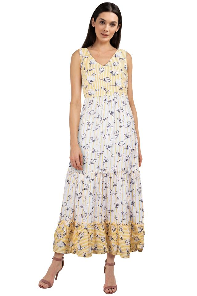 Womens V Neck Printed Gown