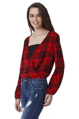 Womens Surplice Neck Check Top