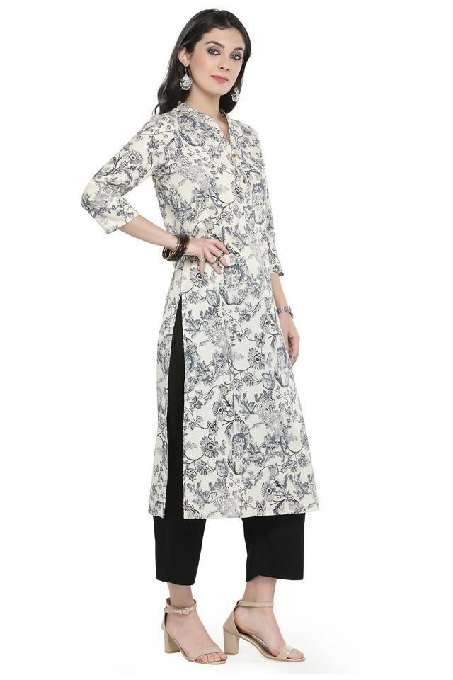 Women Cotton Floral print Straight Kurta