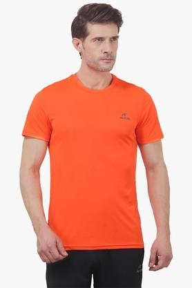 ALCIS Mens Slim Fit Round Neck Solid T-Shirt - 203098768