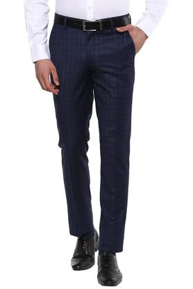 Mens 4 Pocket Checked Formal Trousers