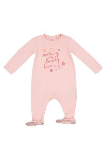 Girls Round Neck Graphic Print Babysuit