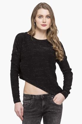 LIFEWomens Round Neck Slub Asymmetrical Sweater