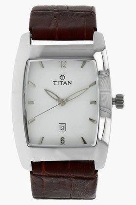 TITANMens White Dial Leather Watch - NE9171SL01E