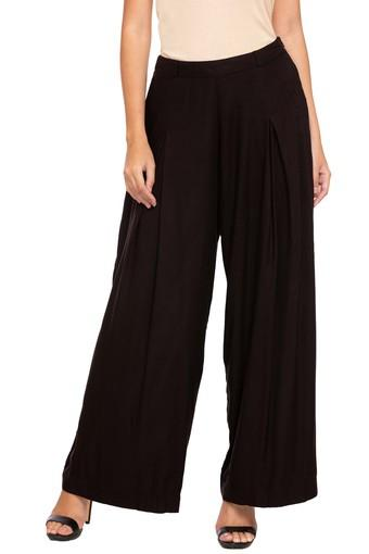 Womens Solid Flared Trouser Pants