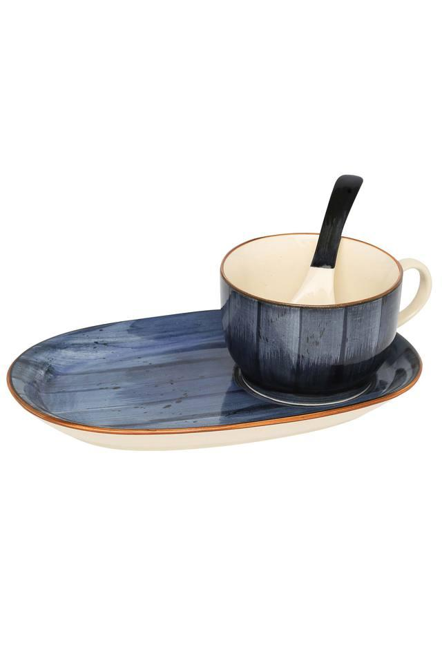 Twilight Brush Stroke Soup Bowl with Spoon and Tray