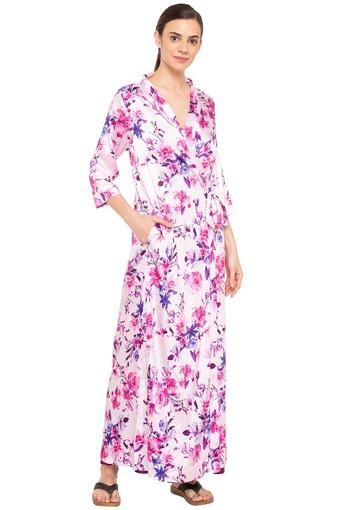 Womens V-Neck Floral Print Robe with Night Dress