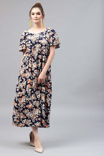 Womens Round Neck Floral Print Flared Dress