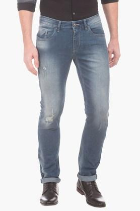 FLYING MACHINEMens Tapered Fit Distressed Jeans (Michael Fit)