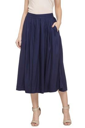 GLOBAL DESIWomens Solid Mid Length Skirt