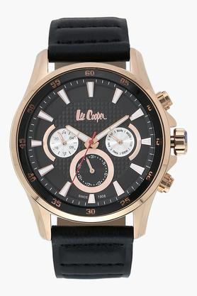 LEE COOPER Mens Chronograph Black Dial Leather Watch - LC06540451