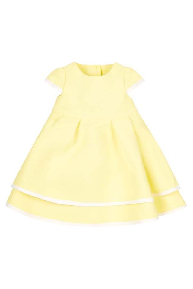 Girls Round Neck Solid Layered Dress