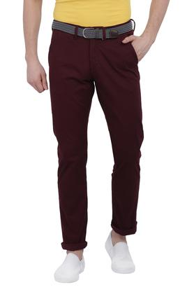 Mens Straight Fit 4 Pocket Solid Trousers