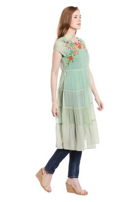 Womens Band Collar Embroidered Knee Length Dress