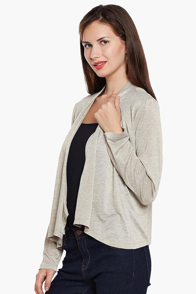 Womens Open Front Slub Asymmetrical Shrug