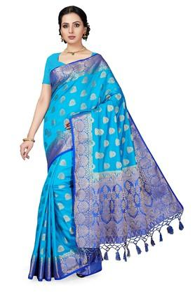 ISHINWomens Gold Woven Saree With Blouse Piece