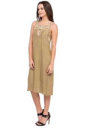 Womens Square Neck Embroidered Knee Length Dress
