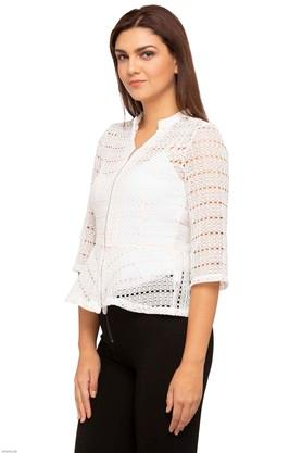 Womens Mandarin Neck Solid Knitted Jacket