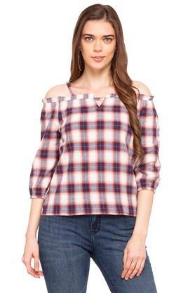 Womens Off Shoulder Neck Checked Top
