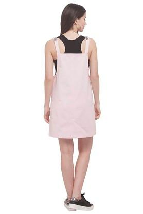 Womens Square Neck Solid Pinafore Dress
