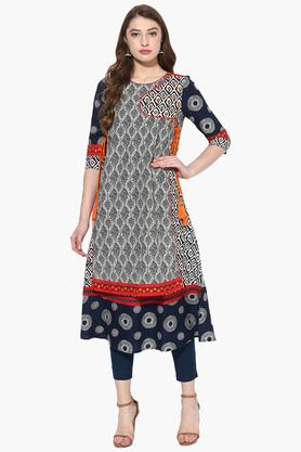 JUNIPER Womens Embroidered Angrakha Style Kurta With Straight Pants - 203635695
