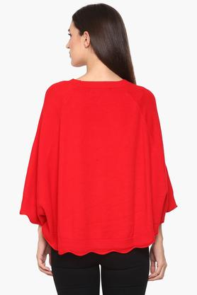 Womens Round Neck Solid Poncho