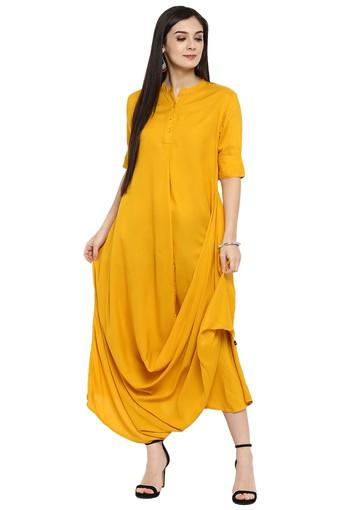 Womens Rayon Solid Cowl Dress With Pockets