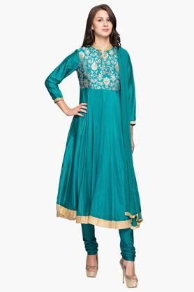BIBAWomen Cotton Silk Anarkali Suit - 202981601