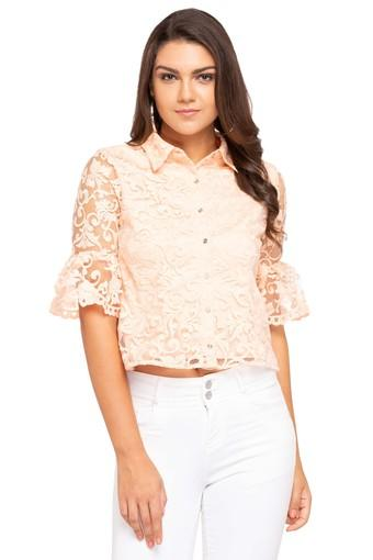 Womens Bell Sleeves Embroidered Shirt