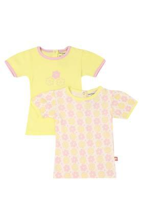 Girls Round Neck Printed and Solid Top Pack of 2