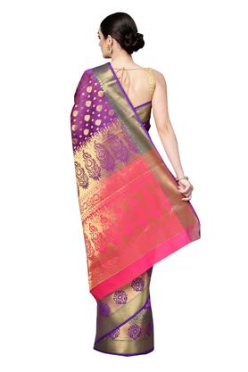 Womens Golden Weave Saree with Blouse Piece