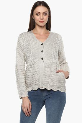 APSLEY Womens V Neck Slub Cardigan - 204849862_9101
