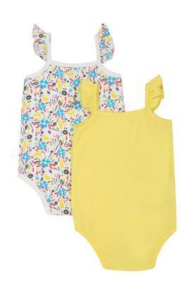 Girls Square Neck Printed Babysuit Set of 2