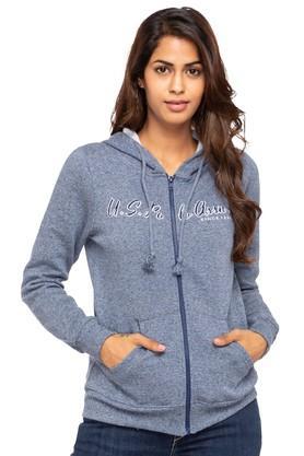 U.S. POLO ASSN.Womens Hooded Neck Slub Sweatshirt