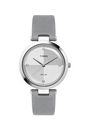 Womens Silver Dial Leather Analogue Watch - TWEL11813