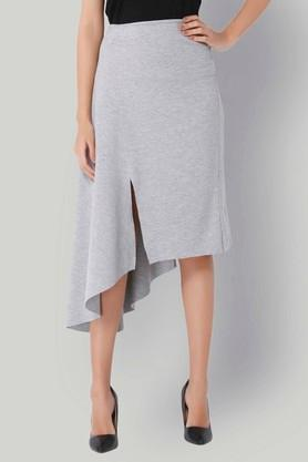 VERO MODA Womens Slub Slitted Asymmetrical Skirt