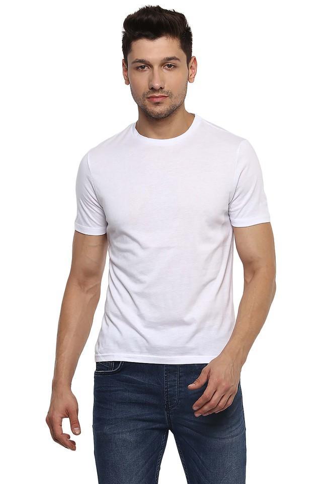Mens Slim Fit Round Neck Solid T-Shirt
