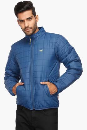 WILDCRAFTMens Zip Through Neck Solid Quilted Jacket