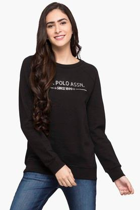 U.S. POLO ASSN. Womens Round Neck Solid Sweatshirt