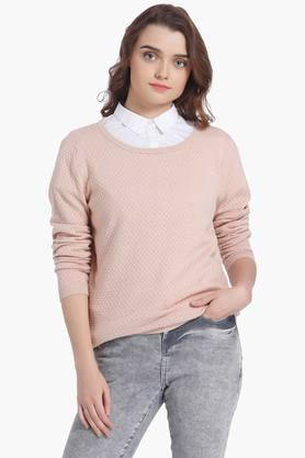 VERO MODA Womens Round Neck Solid Sweater