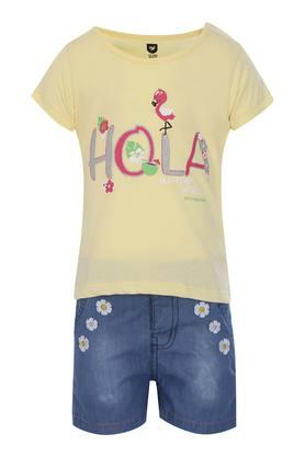 Girls Round Neck Printed Top and Embroidered Shorts Set